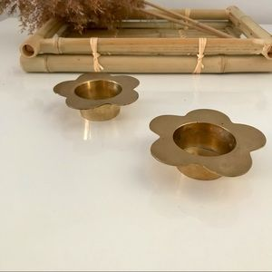 Vintage Tealight Candle Holders Solid Brass